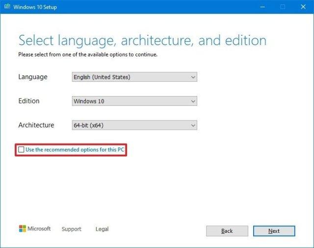 Media Creation Tool change Windows 10 settings
