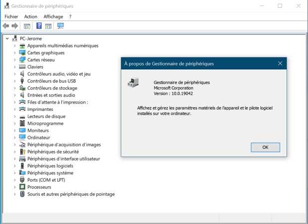 Gestionnaire de périphériques de Windows 10