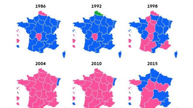 Les résultats des élections régionales depuis 1986. (FRANCEINFO)