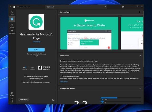 Grammarly Extension Windows11 Store