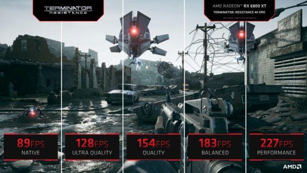Technologie FSR d'AMD alias le FidelityFX SuperResolution - Performance sous Terminator résistance