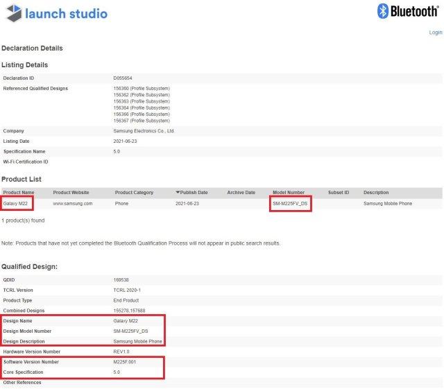 Samsung Galaxy M22 SM-M225FV_DS Bluetooth Certification
