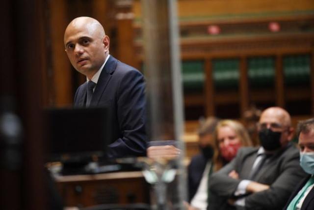 Le ministre britannique de la santé, Sajid Javid, fait le point sur le Covid-19 à la Chambre des communes, à Londres, le 28 juin 2021.