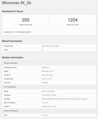Geekbench 5 scores: Micromax In 2b