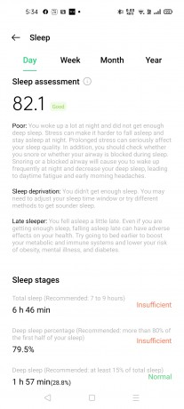 Sleep tracking on Oppo Band Style