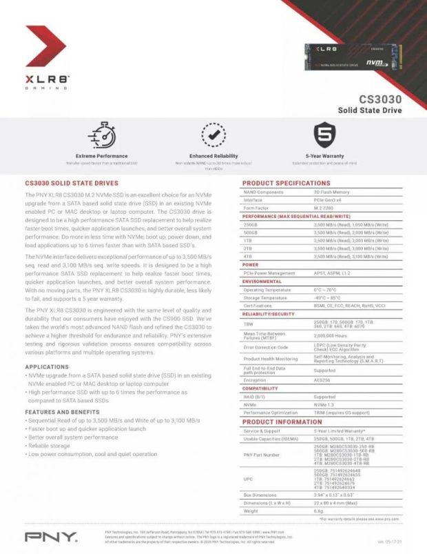 SSD XLR8 CS3030 de PNY - Spécifications après l'ajustement de PNY