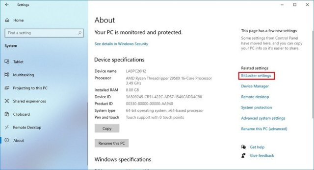 About settings with BitLocker selected