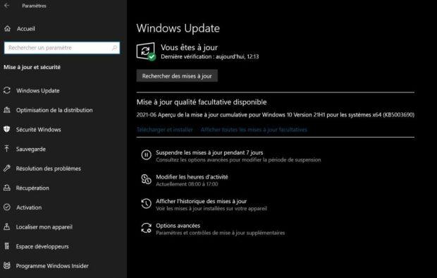 Windows et la mise à jour KB5003690