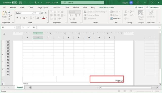 Excel edit footer