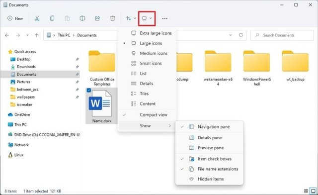File Explorer layout and view options