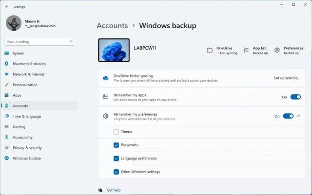 Windows Backup page