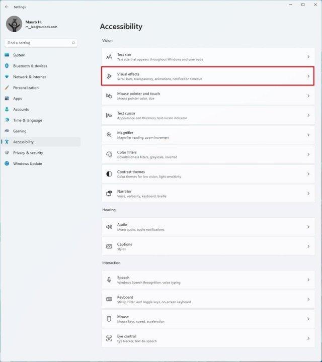 Accessibility settings on Windows 11