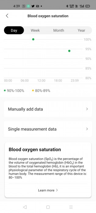 Blood oxygen level measurement with SpO2 sensor on Amazfit GTS 2