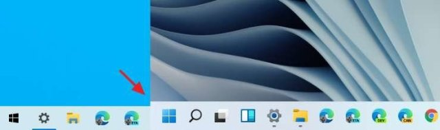 Windows 10 taskbar (left), Windows 11 taskbar (right)
