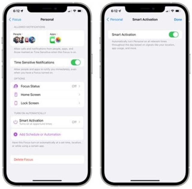 ios 15 focus mode smart activation