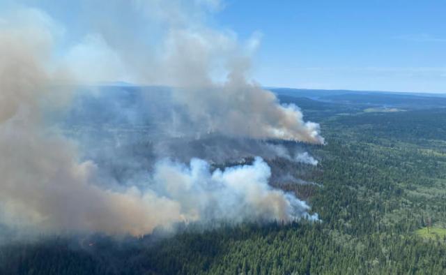 Vue aérienne d'un feu en Colombie-Britannique (Canada), le 2 juillet 2021.