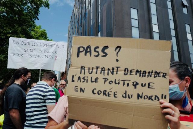 Manifestation contre le pass sanitaire à Toulouse, le 24 juillet 2021.