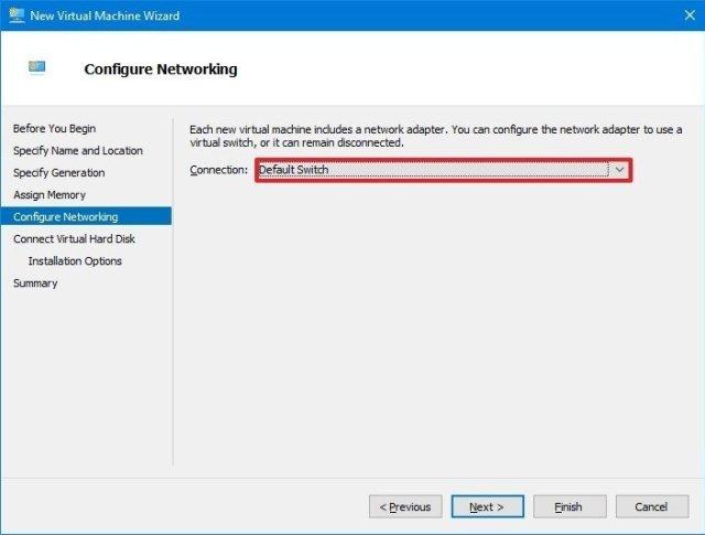 Windows 10 virtual machine default switch