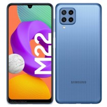 Samsung Galaxy M22 in black, blue and white