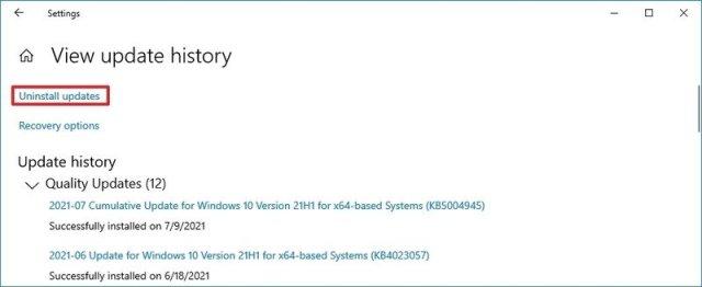 Uninstall updates option