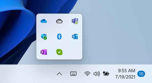 Windows 11 - Afficher les icônes cachées