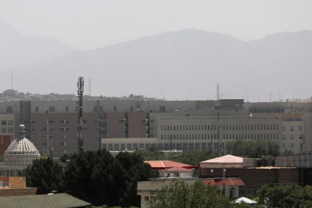 Les bâtiments de l'ambassade des Etats-Unis, à Kaboul, en Afghanistan, le samedi 14août 2021.