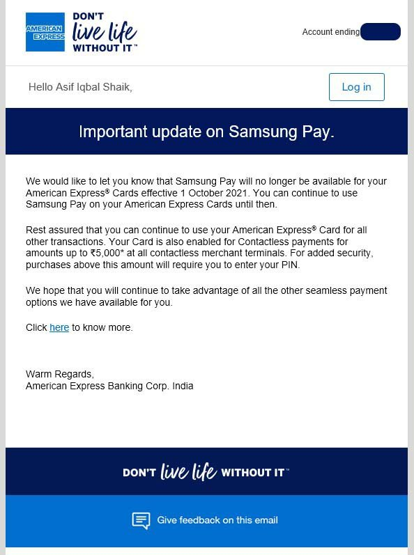 Samsung Pay American Express Discontinuation India