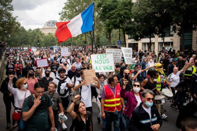 Manifestation contre l'instauration d'un passe sanitaire, près de la place de la République, à Paris,le 31 Juillet 2021.
