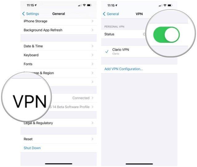Pour configurer un VPN sur iPhone ou iPad, sélectionnez votre VPN. Activez l'interrupteur d'état.
