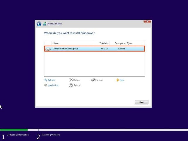 Select drive to install Windows 11