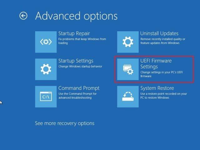 Advanced settings UEFI option