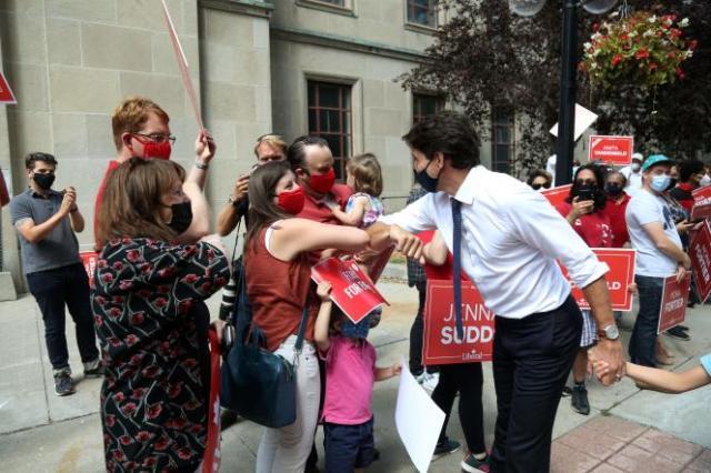 Justin Trudeau en campagne à Ottawa au Canada, le 15 août 2021.