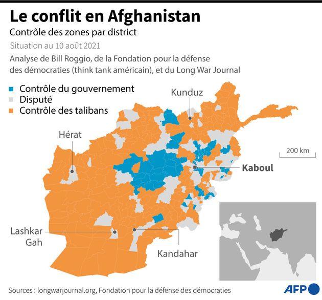 Carte des zones de l'Afghanistan actuellement sous contrôle du gouvernement, disputées ou sous contrôle...