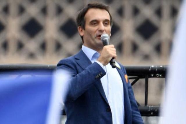 Le président du parti Les Patriotes, Florian Philippot, au rassemblement contre l'instauration d'un passe sanitaire, à Paris, le 24 juillet 2021.