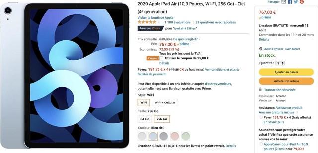 iPad Air bleu Amazon