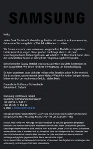 The emails received by some, telling them that their Galaxy Watch4 or Z Fold3 shipment has been delayed