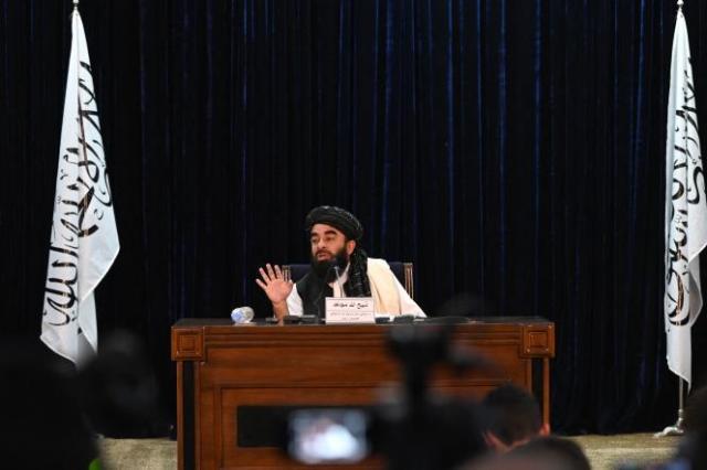 Zabihullah Mujahid, l'un des porte-parole du mouvement taliban, annonce la prise de la vallée du Panchir, à Kaboul, le 6 septembre 2021.