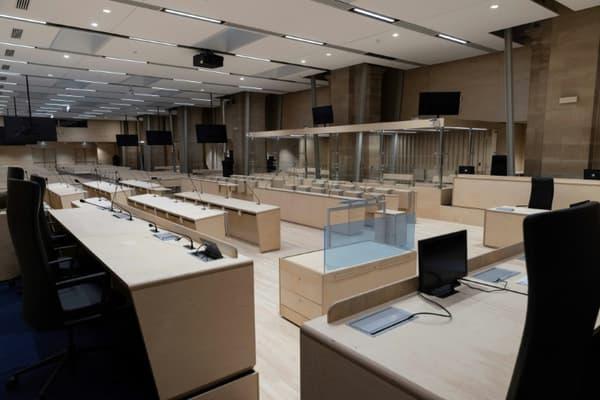 La salle d'audience construite spécialement pour le procès des attentats du 13 novembre 2015 au Palais de justice de Paris, le 4 jjuin 2021