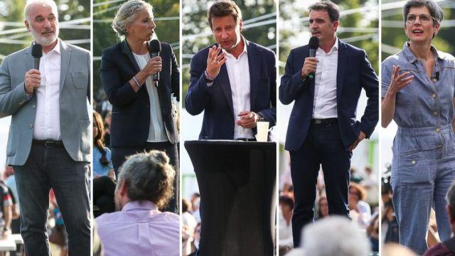 Montage de Jean-Marc Governatori, DelphineBatho,Yannick Jadot, Eric Piolle et Sandrine Rousseau (de gauche à droite), lors des journées d'été des écologistes, le 20 et le 21 août 2021, à Poitiers (Vienne). (MAXPPP)