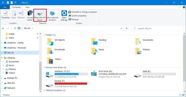 Map Network Drive on File Explorer