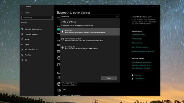 Bluetooth Settings on Windows 10