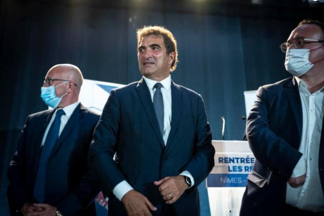Eric Ciotti, Christian Jacob et Damien Abad lors de la réunion de rentrée des parlementaires du parti Les Républicains (LR) à Nîmes, le 9 septembre 2021.