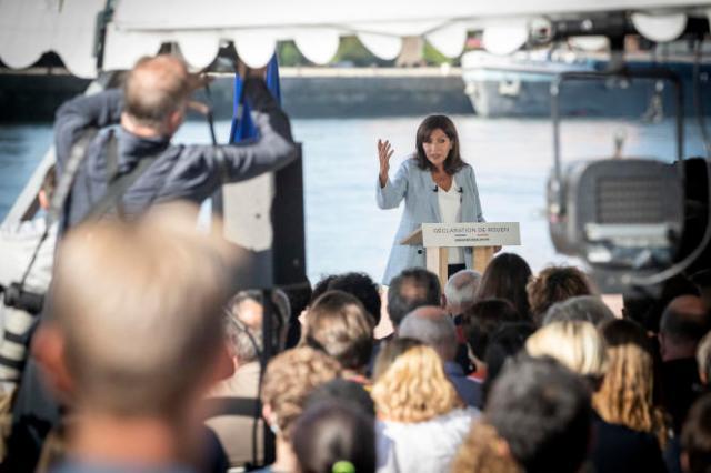 Anne Hidalgo, maire de Paris, annonce sa candidature à l'élection présidentielle pour le Parti socialiste, à Rouen, le 12 septembre 2021.