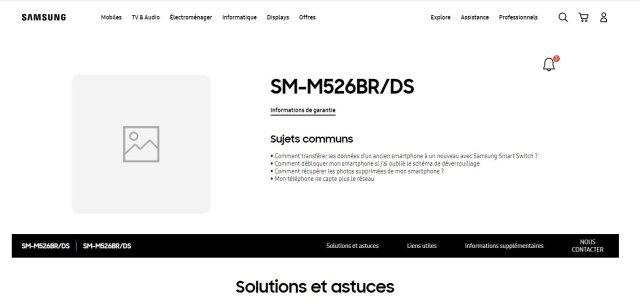 Samsung Galaxy M52 5G Support Webpage