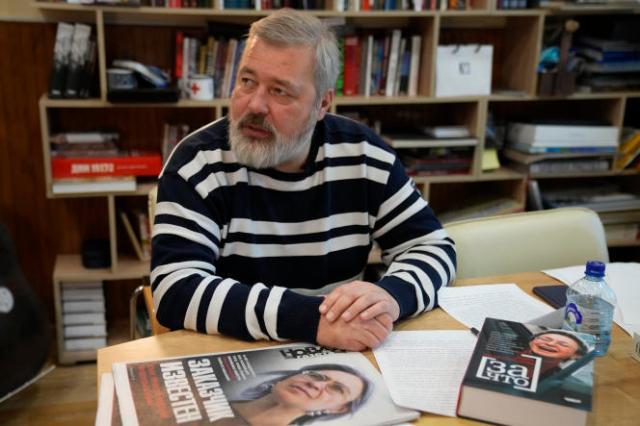 Le rédacteur en chef de la «Novaïa Gazeta», Dmitri Mouratov, lors d'une interview au siège du journal, à Moscou, le 7 octobre 2021.