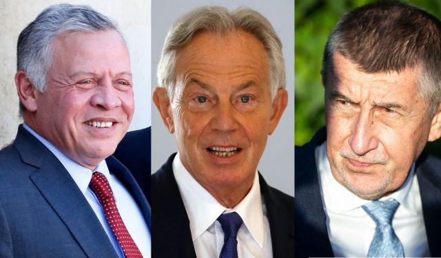 De gauche à droite: le roi de Jordanie Abdallah II, l'ex-Premier ministre Britannique Tony Blair et le...