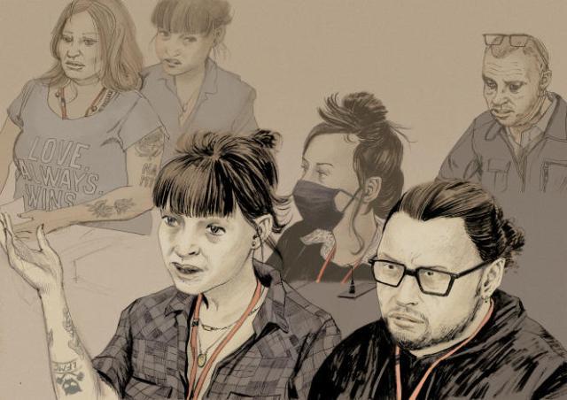Edith et Bruno, deux rescapés de l'attaque du Bataclan, témoignent devant la cour d'assises, à Paris, le 6 octobre 2021.