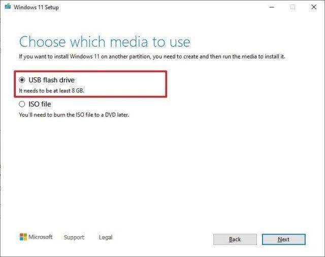 Create Windows 11 USB option