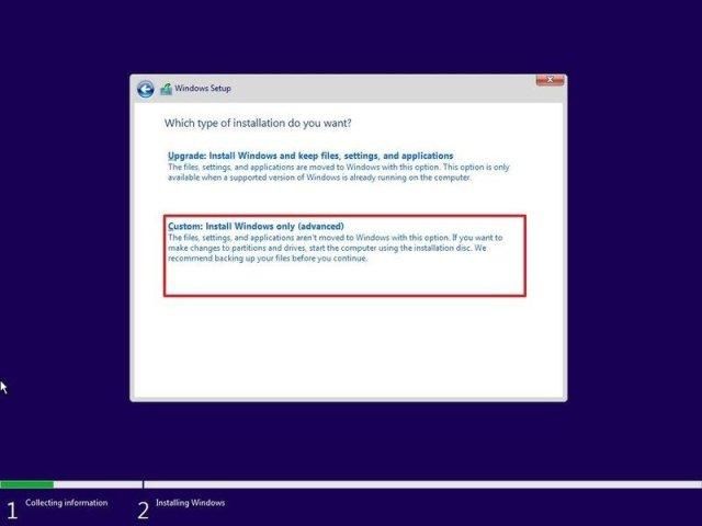 Windows 11 clean install option