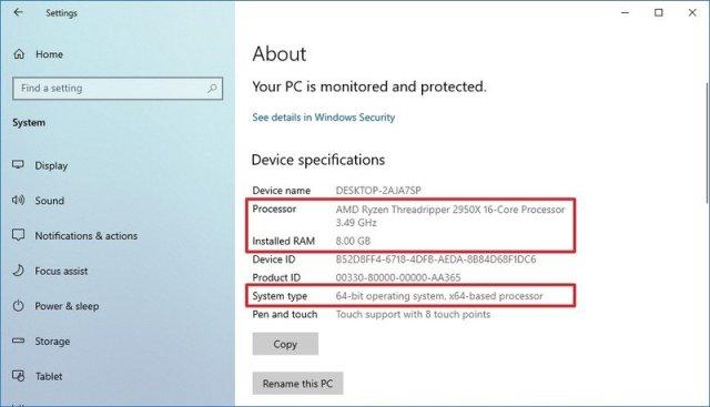 Windows 10 PC specs